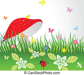 Mushroom on a glade - The red mushroom grows on a glade A...