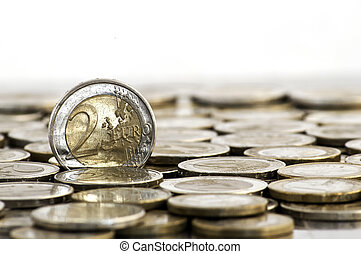 Grungy 2 euro coin on white background