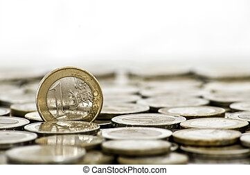 Grungy 1 euro coin on white background