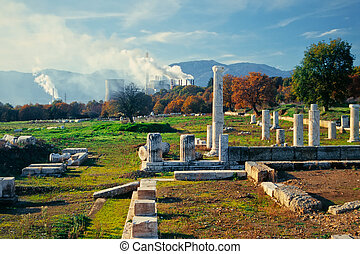 Antique pillars, power plant, Megalopoli, Greece - Antique...
