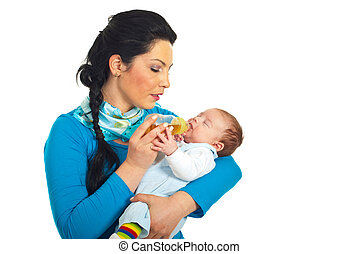 Mother attentive to newborn drink - Mother being attentive...