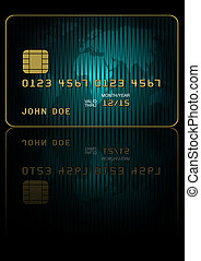 Credit Card - Fictitious Credit Card With World Map on Dark...