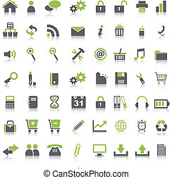 Many green icons on white background