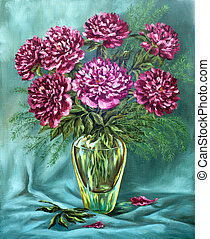 Peonies in a glass vase - Picture oil paints on a canvas: a...