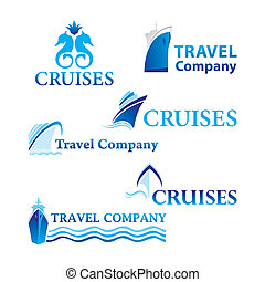 travel-cruises - Travel and Cruises Set of corporate vector...