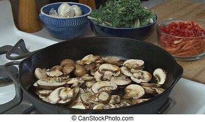 Cooking Mushrooms 1 - Preparing food - cooking sliced...
