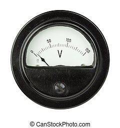 Voltmeter - Vintage ancient voltmeter isolated on white...