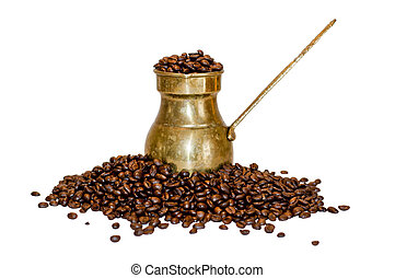 Old coffee pot and beans