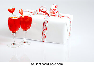 Cocktails and a gift for my Valentine - White gift box with...