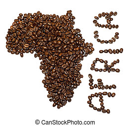 African coffee - Silhouette of African continent made with...