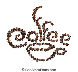Sign made withe coffee beans on isolated background