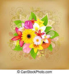Flower Background On Old Paper, Vector Illustration