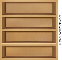 Empty Wooden Bookshelf - Wooden Empty Bookshelf, Vector...