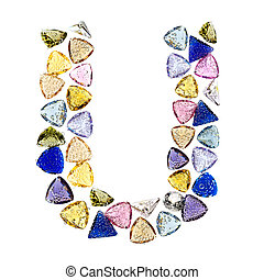 Gemstones alphabet, letter U. Isolated on white background.