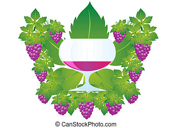 A glass of wine and grapes