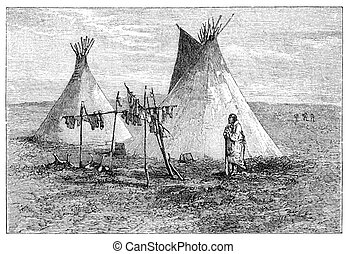 Jerked meat hanging outside native american teepee tent...