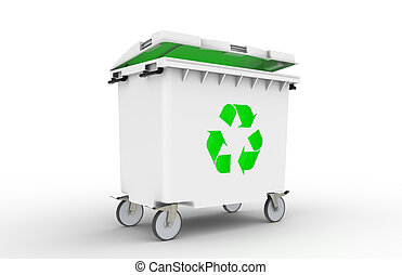 Recycle Bin with green light - Recycle bin with green light...