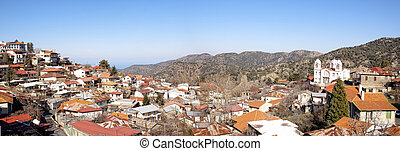 Panoramic view of Pedoulas Village famous touristic village in Cyprus