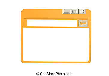 Internet Browser Window, simplified Orange isolated on white...
