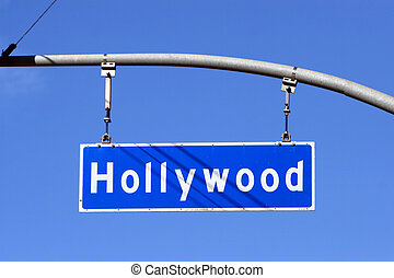 Hollywood Boulevard street sign, Los Angeles, California, USA.