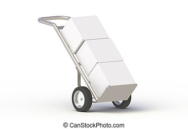 Hand Truck - Hand Truck, with boxes isolated on white. Part...