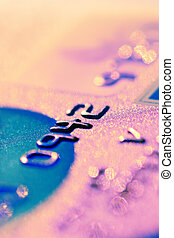 Credit card digits close-up. Shallow DOF