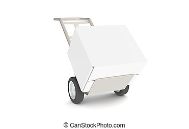 Hand Truck - Hand truck with Large Box, isolated on white....