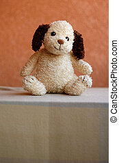Stuffed retro toy dog. Shallow DOF, focus on eyes.
