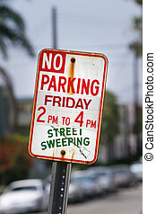 No parking street, sweeping sign