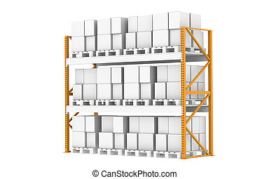 Warehouse Shelves - Pallet Rack, Full. Isolated on white....