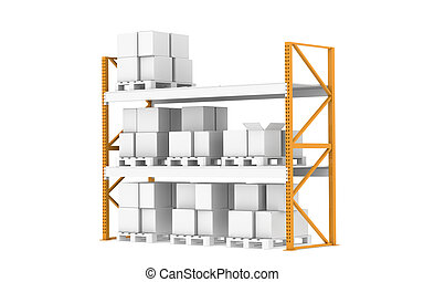 Warehouse shelves - Pallet Rack, Half full Isolated on white...