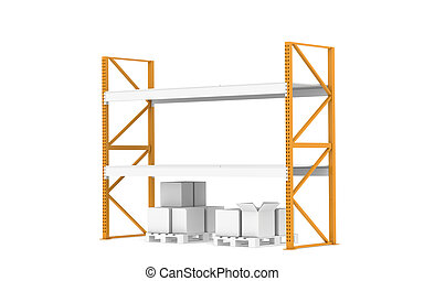Warehouse Shelves - Rack with low Stock Level. Part of...