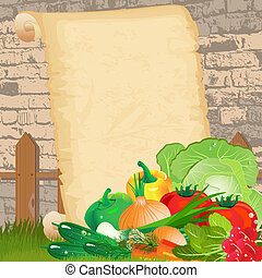 Dietary menu on paper grunge