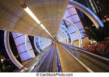 futurista, arquitetura, túnel, em movimento,...