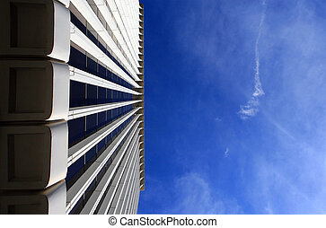 Corporate building, low angle view. Plenty of copy-space provided.
