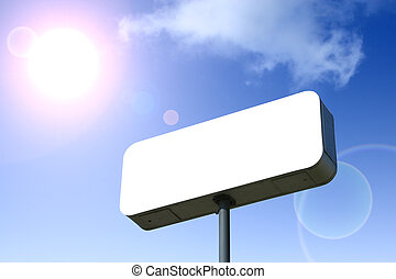White Billboard, Blue Sky Behind Outlined With Clipping Path...