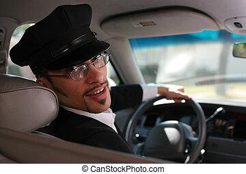 retrato, guapo, macho, chófer, Sentado, coche,...