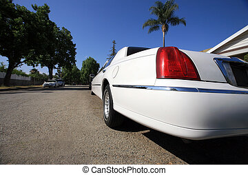 White limousine, wide angle view. Los Angeles, California, USA.