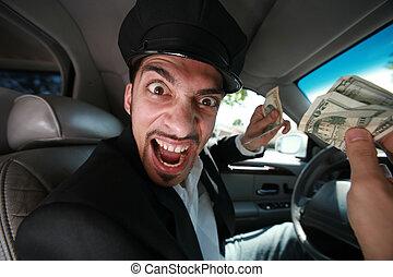 enojado, conductor, dólar, cuentas