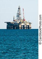 mar, óleo, Guarneça, perfurar, plataforma