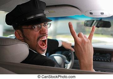 enojado, chófer