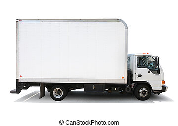 White delivery truck isolated on white background, clipping paths included.