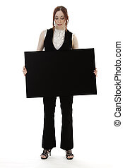 Holding a board - Young business woman wearing a business...