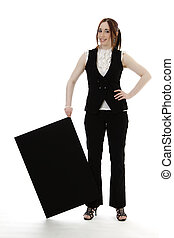Tipping the sign - Young business woman wearing a business...