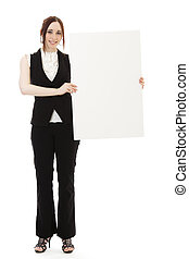 Holding board - Young business woman wearing a business suit...
