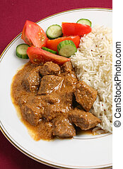 Beef korma and rice vertical - North Indian-style beef korma...