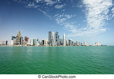 Doha city skyline - A view of the city skyline in Doha,...