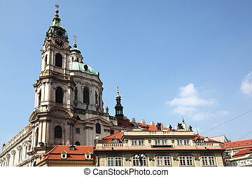 Church of Saint Nicolas Prague - view at the tower of the...