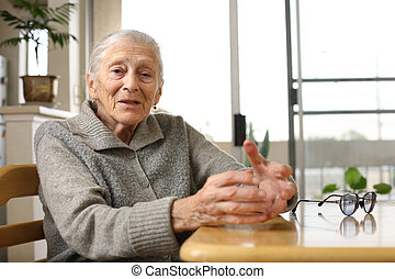 Senior woman at home