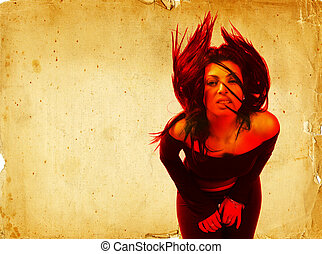 Hot Young Brunette Woman Waving Her Hair Digital Composite